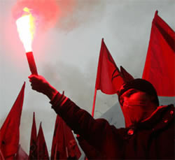 Russian Hooligan holds up flare
