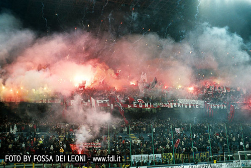 AC Milan ultras tifo display - flares, flags and banners